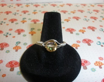 Peach Crystal  Ring Size 8