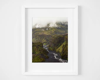 Volcano valley print - Iceland landscape photo - Travel photography - Large wall art - Framed fine art - Iceland photos - Mountain art