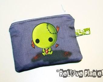 Creepy Cute ZOMBIE Mini Zipper Purse Pouch - Coin Wallet  - ReLove Plan.et