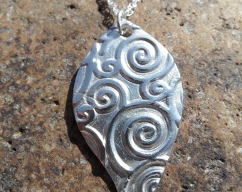 Fine Silver Swirl Pendant with Sterling Silver Rope Chain