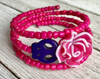 Day of the Dead Skull Coil Bracelet,Pink/Purple Skull & Rose Wrap Bracelet,Sugar Skull Bracelet,Day of the Dead Jewelry,Memory Wire Bracelet