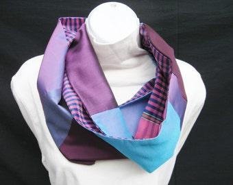 Silk Infinity Scarf, Patchwork Scarf, Elegant Infinity Scarf,  Dressy Scarf, Purple Blue Magenta, Pieced Scarf, Silk Patchwork Scarf, OOAK