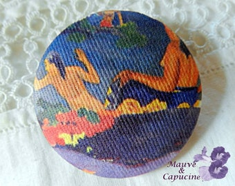 Button fabric, painting by Gauguin, 24 mm / 0.94 in