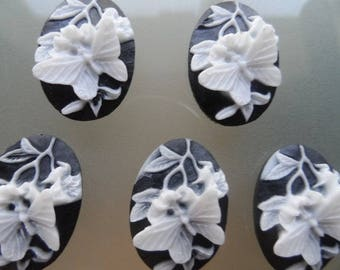 set of 5 Black colored 3D Butterfly cameos