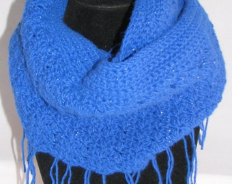 Glittering Blue Crochet Infinity Scarf, Made in USA