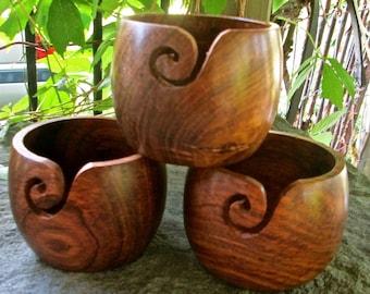 """Teak or Mango Wood Yarn Bowl 4"""" X 3"""" for 4 oz Ball 'O Yarn SUPER FAST Shipping!"""