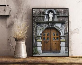 Door photography, Door print, Brussels Architecture Print, Rustic door photography, Old building Print, Architecture photo, Brussels photo