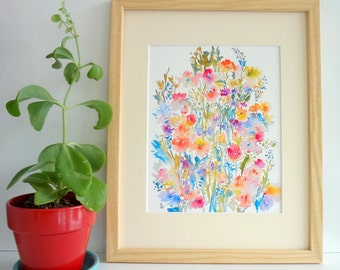 From the Garden No.5, Watercolor Flowers, Flower Painting, Floral Wall Art Decor