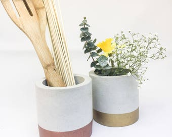 Kitchen Utensil Holder, Concrete Utensil Holder, Kitchen Utensil Crock, Kitchen Organization, Industrial Kitchen Decor, Spoon Holder