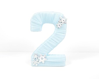 Winter Birthday Decor - Light Blue Tulle Wrapped Number for Winter Themed Birthday - Snowflake Decor