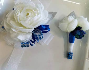 ON SALE Ivory and Royal Blue Wrist Corsage and Matching Boutonniere Ready to Ship