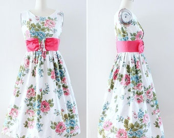 50s Rose Print Dress XS Extra Small - Vintage 1950s Day Dress - Floral Print Cotton - Sleeveless Spring Summer