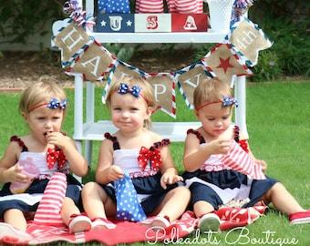 July 4th Headband Boutique Patriotic Headband Stars and Stripes Tuxedo Bow Skinny Elastic Headband Infant Hair Bow July 4th Baby Headband