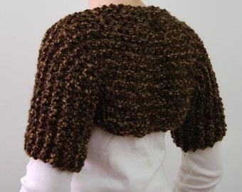 Hand Knitted Shoulder Shrug in Brown