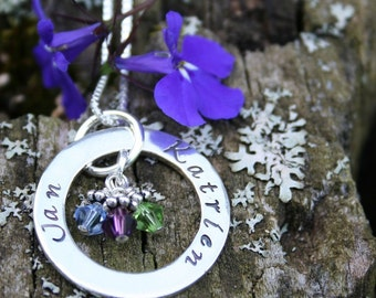Mommy Necklace- Hand Stamped Eternity Circle Necklace - Sterling Silver