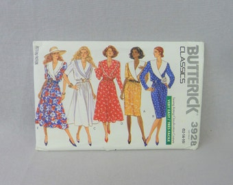 1989 Butterick Classics Very Easy Pattern 3928 - Misses' Dress 12-14-16 Uncut - Vintage 1980s Sewing Pattern