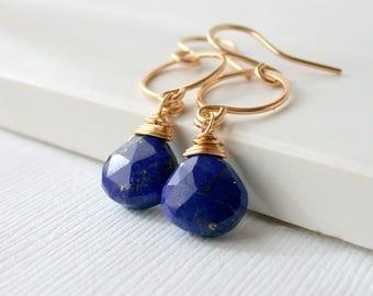 Gemstone Earrings Lapis Lazuli Drops Lapis Lazuli Dangles Lapis Lazuli Jewelry Blue Gemstone Earrings Lapis Lazuli Earrings