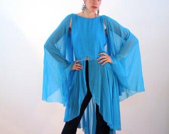 70s Holly Harp Tunic Dress S, Blue Silk Chiffon Top, Flowing Tunic, 1970s Statement Dress, Boho Goddess Vintage Designer Dress, Cape Dress