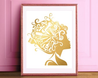 Hair Stylist Gift - Hair Dresser Gift - Hairdresser Gift - Hair Salon Decor - Hair Salon Wall Art - Hair Salon Art - Real Gold Foil Print