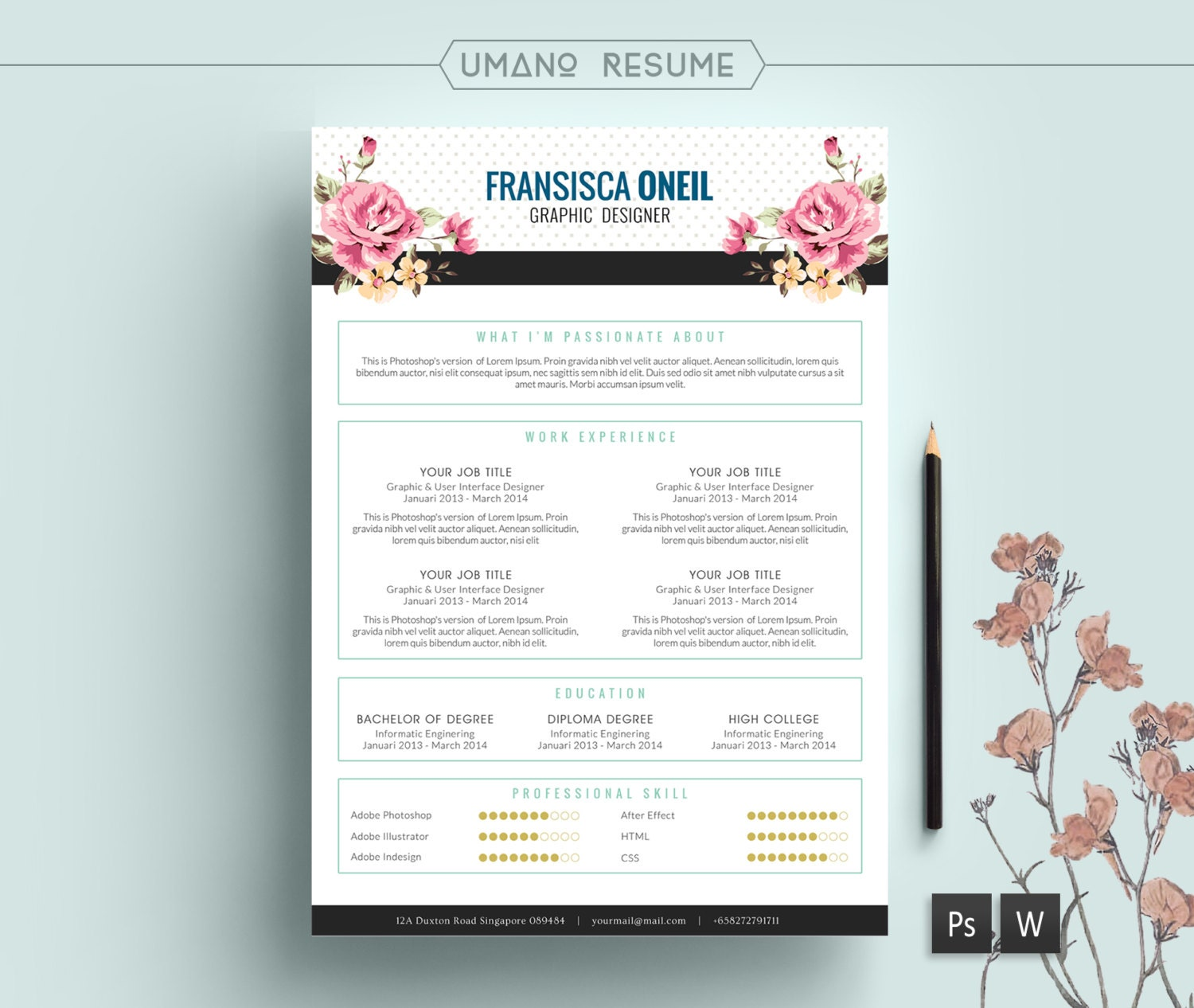 Vintage Resume Template Free Cover Letter For Word Psd