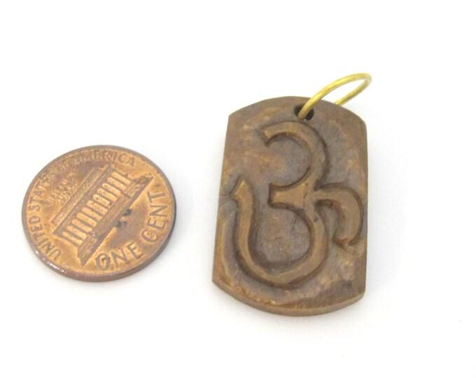 1 pendant - Tibetan pendant rectangular square shape carved Om bone pendant - PB101