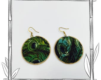 Green Fabric Earrings