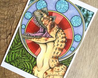 Ceratosaurus Art Nouveau Print