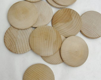 """12 Large wooden domed disks 2 1/4"""", wooden Circle, domed disc, 5/16"""" thick unfinished DIY"""