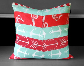 """Pillow Cover - Mint Anchor Coral Herringbone Multi-print 20"""" x 20"""", Ready to Ship"""
