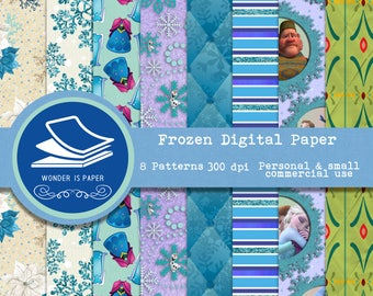 FROZEN Digital Papers - 8 Designs 12x12in, 30x30 cm - Ready to Print - High Quality