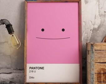 Nintendo Pokemon Ditto Pantone Swatch Poster
