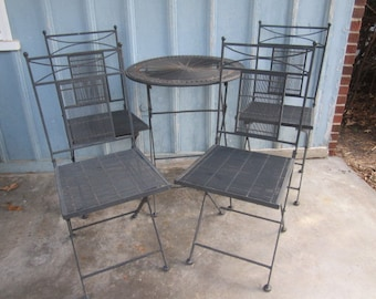 Pick up Only...Vintage Heavy Black Folding 5 Piece Welded Wrought Iron Round Table w/4 Chairs Patio Set