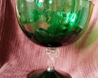 Large Vintage Green Glass Pedestal Bowl.