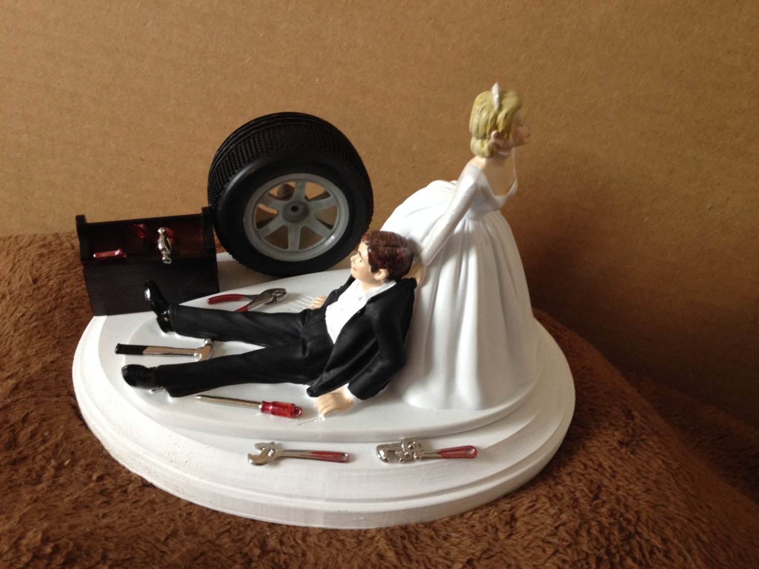 Cake Topper Wedding Day Bride Groom Funny Auto Mechanic