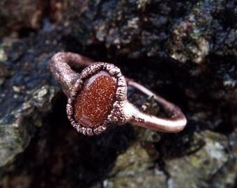 Goldstone, gemstone ring, copper ring, crystal ring, crystal ring, raw crystal ring, Boho Ring, Goldstone Ring, copper ring, Healingstone