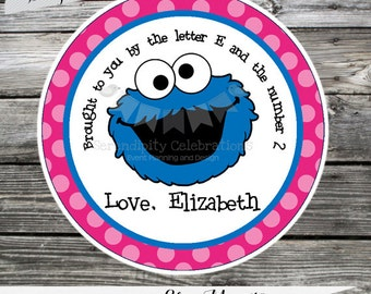 Set of 12 Personalized Favor Tags -Blue Monster- Pink- Blue- Chevron-Thank You Tag -Gift Tag -Baby Shower -Birthday-Sticker-Cookie Monster