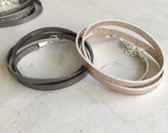 Leather Triple Wrap Bracelet - Metallic Leather Simple Bracelet - Cuff Bracelet - Leather Bracelet - Rose Gold Bracelet - Womens Bracelet