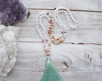 Snow Quartz Mala, Rhodonite Mala, Sunstone Mala, 108 Knotted Mala, Mala Beads, Mala Bead Necklace, Meditation Beads, Yoga Mala, Mala