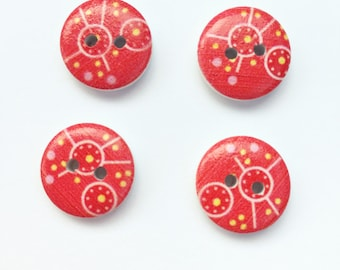 Red Button Wooden Buttons - Small Button 15 mm Button - Half Inch Button - Scrapbook Buttons Notions, Embellishment, Craft Supplies Wood