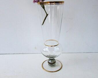 Vintage Flower Vase - Mid Century Modern Vase - Gold rimmed - Gold Banded - Hollywood Regency - Clear Glass Gold Accents - Flower Vase -