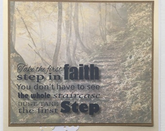 Large 8 x 8 Card - Take the first Step in Faith