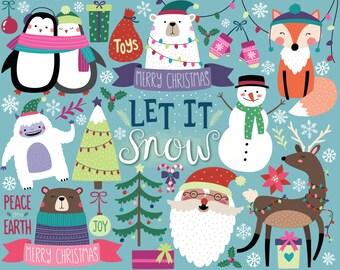 Christmas Clipart - Holiday Clipart, Cute Digital Christmas Clip Art, Woodland Christmas Digital Download, Christmas DIY