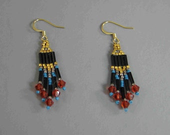 Gold Earrings, Black and Gold Earrings, Red Swarovski Beaded Earrings, Indian Bead Work, Native American Earrings, Tiny Earrings, Southwest