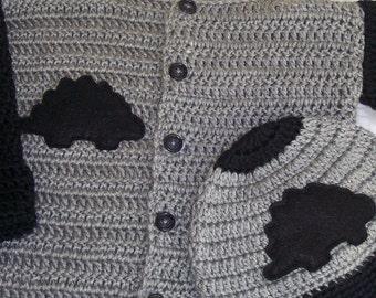 Dinosaur Sweater, Crochet Sweater, Crochet Dinosaur Sweater