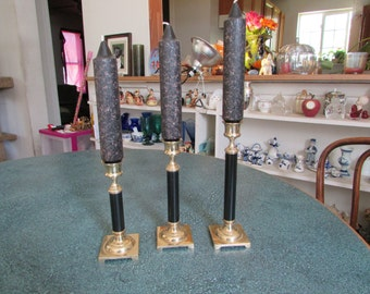 Vintage Set of 3 Graduating Brass & Black Candle Stick Holders W/ Blackish Granite Candle Sticks