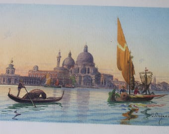 UMBERTO ONGANIA Watercolour Painting Venice Italy Harbour Sailboat Architectural Original Vintage Antique Fine Art Home Decor