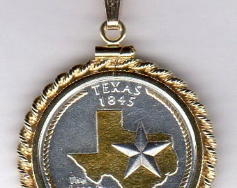 Necklace -2-Toned Gold on Silver U.S. Texas Statehood Quarter Coin Necklace