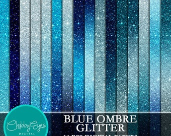 Blue Ombre Glitter Digital Papers, Scrapbook Papers Glitter Clipart  Instant Download