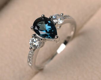November birthstone ring, London blue topaz ring, wedding ring, blue gemstone ring, pear cut gemstone, sterling silver ring