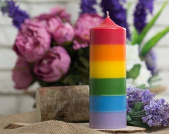 Rainbow candle - Pillar, Handmade, Aromatherapy, Home Decor, Decoration, Modern, Custom, Personalized, Wax, Palm, Paraffin, LGBTQ, Gay, Art